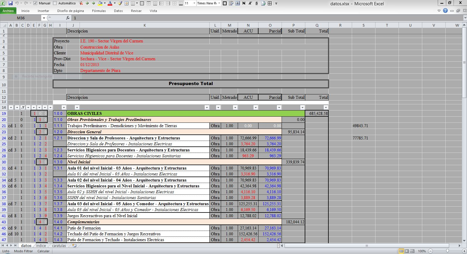 Como hacer un presupuesto de obra costo de la for Presupuesto para una alberca