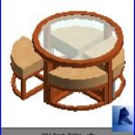 Familias para Revit | Mesas con sillas| 001 Mesa redonda modelo 01