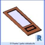 Familias para Revit | 23 Hojas de Puertas | 01 puerta 1 paño vidriado