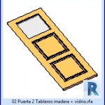 Familias para Revit | 23 Hojas de Puertas | 02 puerta 2 tableros madera mas vidrio
