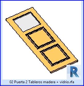 02 puerta 2 tableros madera mas vidrio