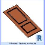 Familias para Revit | 23 Hojas de Puertas | 03 puerta 2 tableros madera