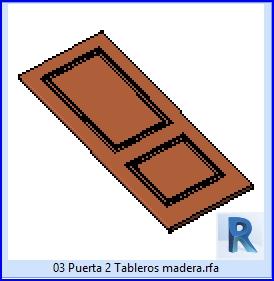 Familias para Revit   23 Hojas de Puertas   03 puerta 2 tableros madera