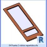 Familias para Revit | 23 Hojas de Puertas | 04 Puerta 2 vidrios repartidos