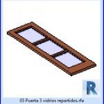 Familias para Revit | 23 Hojas de Puertas | 05 Puerta 3 vidrios repartidos