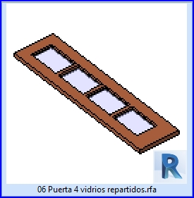 Familias para Revit | 23 Hojas de Puertas | 06 Puerta 4 vidrios repartidos