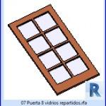 Familias para Revit | 23 Hojas de Puertas | 07 Puerta 8 vidrios repartidos