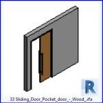 Familias para Revit | 37 Puertas corredizas | 33 Puertas correderas de puerta corrediza de madera .rfa
