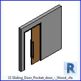 Familias para revit 37 puertas corredizas 33 puertas for Puerta corrediza de madera para bano