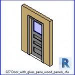 Familias para Revit | 38 Puertas de 1 hoja | 027 Puerta con paneles de madera panel de vidrio .rfa