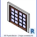 Familias para Revit | 39 Puertas de 2 hojas | 061 Puerta Balcon corredizas .rfa 2 Hojas