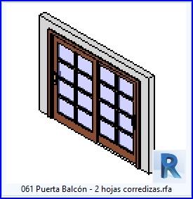 061 Puerta Balcon corredizas .rfa 2 Hojas