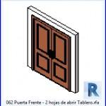 Familias para Revit | 39 Puertas de 2 hojas | 062 Puerta Frente 2 hojas de abrir Tablero .rfa