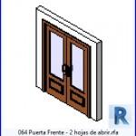 Familias para Revit | 39 Puertas de 2 hojas | 064 Puerta Frente 2 Hojas de abrir .rfa