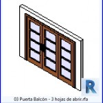 Familias para Revit   40 puertas de 3 hojas   03 Puerta Balcon 3 hojas de abrir .rfa