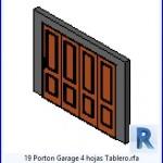 Familias para Revit | 43 puertas de garaje | 19 Garaje Porton 4 Hojas Tablero .rfa