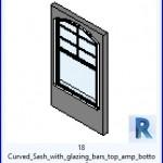 Familias para Revit | 54 Ventanas Varios | 18 curvado marco con barras de acristalamiento superior amp inferior .rfa