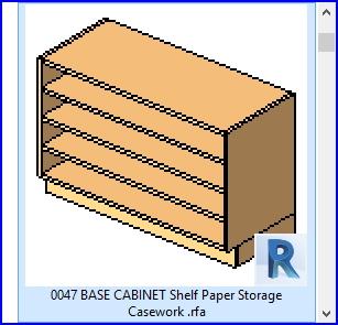 Familias para Revit | 56 Varios | 0047 base del gabinete de papel plataforma de almacenamiento Casework  .rfa