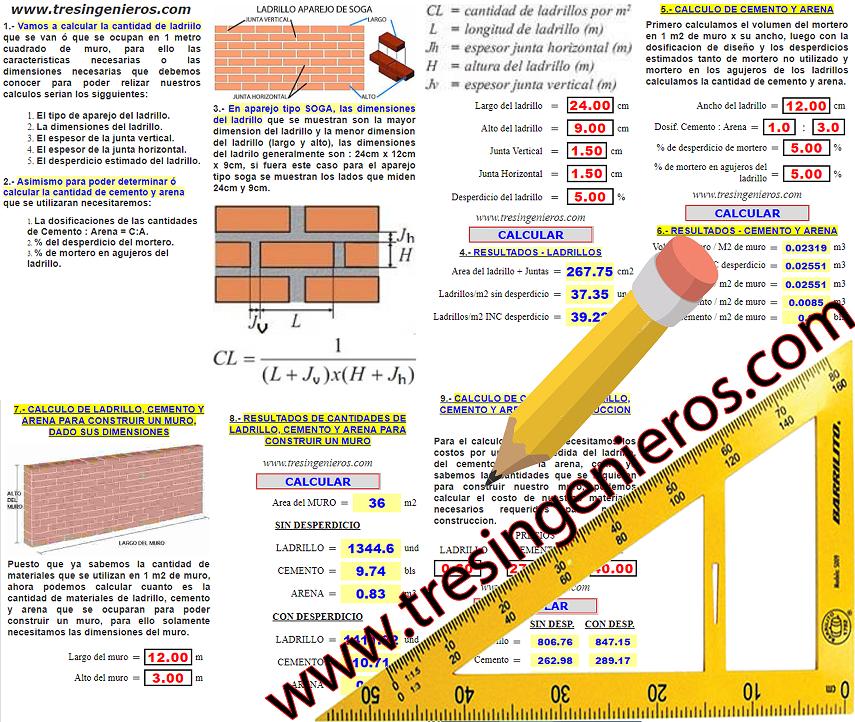 calculo de ladrilo cemento arena en muros